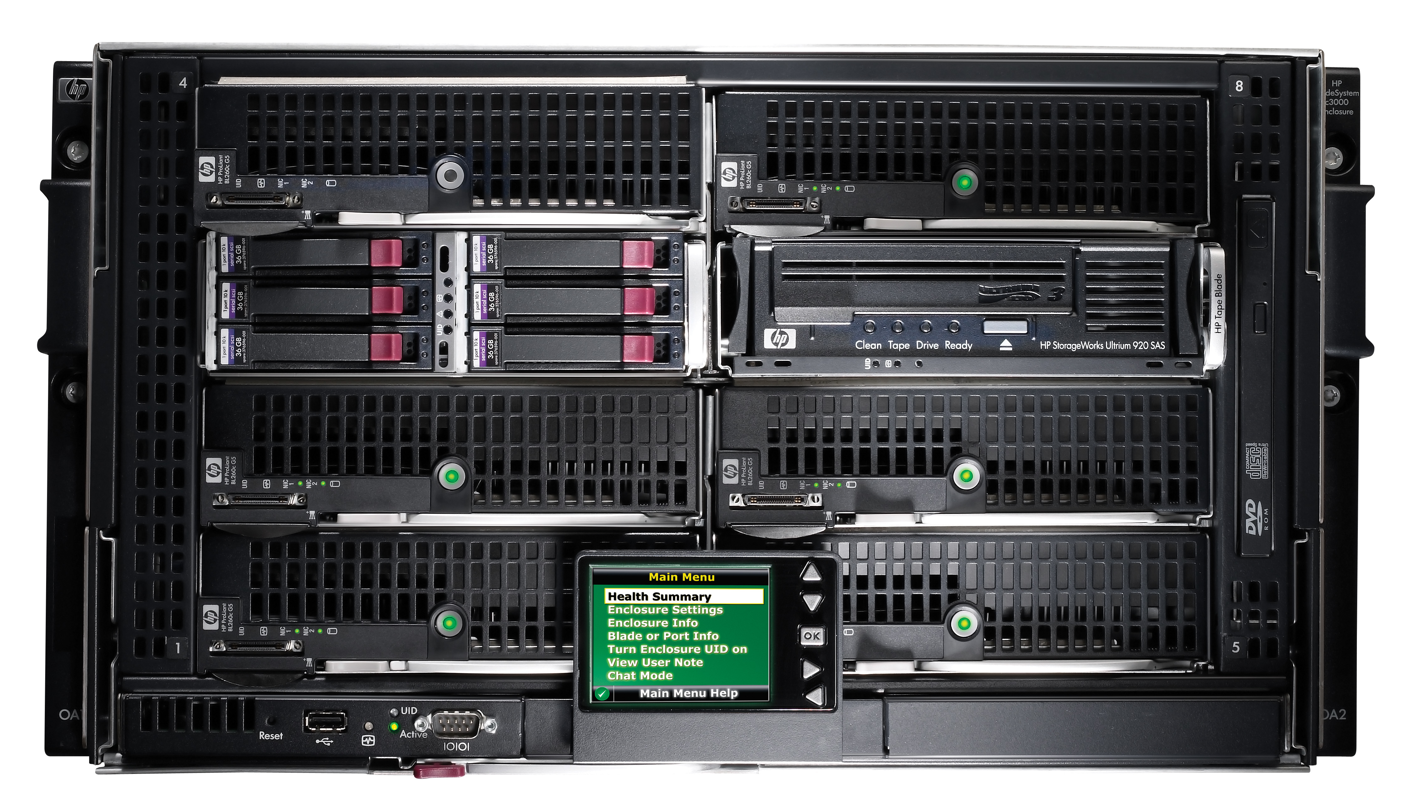 Blade шасси HP BladeSystem c3000 Enclosure - корпус Rackmount 6U, вид спереди